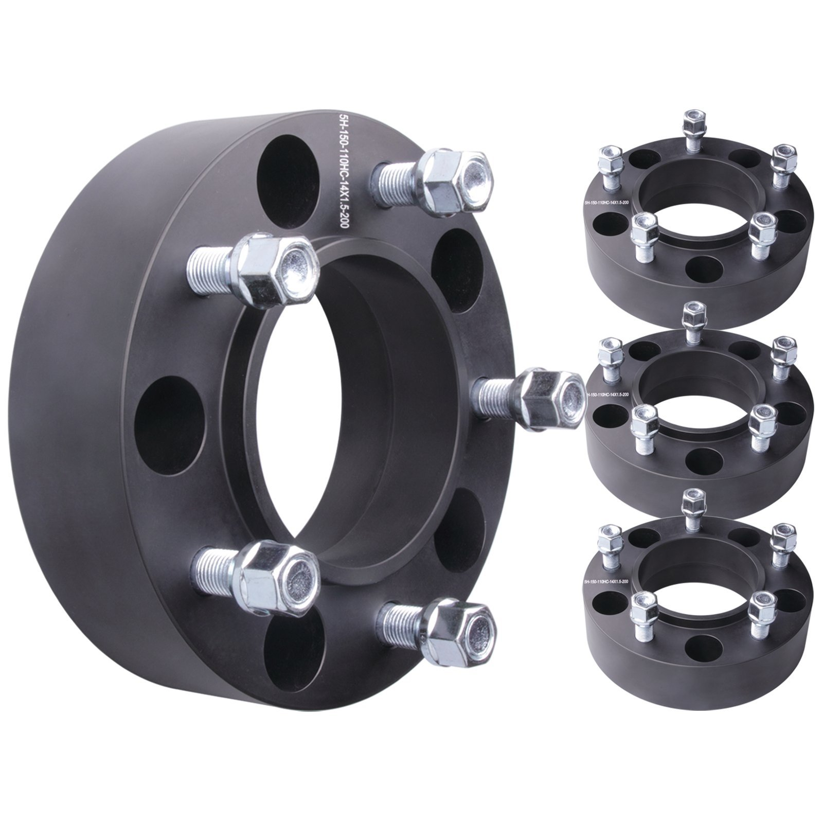 4pcs 2'' 5x150 to 5x150 Hubcentric Wheel Spacers Adapter for Toyota Tundra 2007-2016 Hub Bore 110mm 14x1.5 Studs 6061 T6 Billet Aluminum (07-) Black