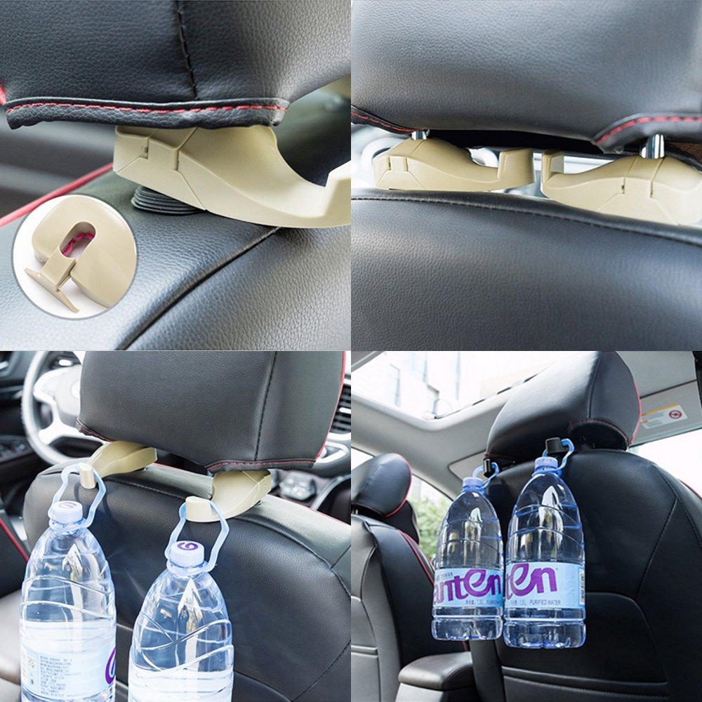 TiooDre 2 Piezas port/átil Asiento de Coche Respaldo reposacabezas Colgador Organizador Auto Cierre Clips Gancho para Bolsa de Transporte Organizador Coche Interior Accesorios
