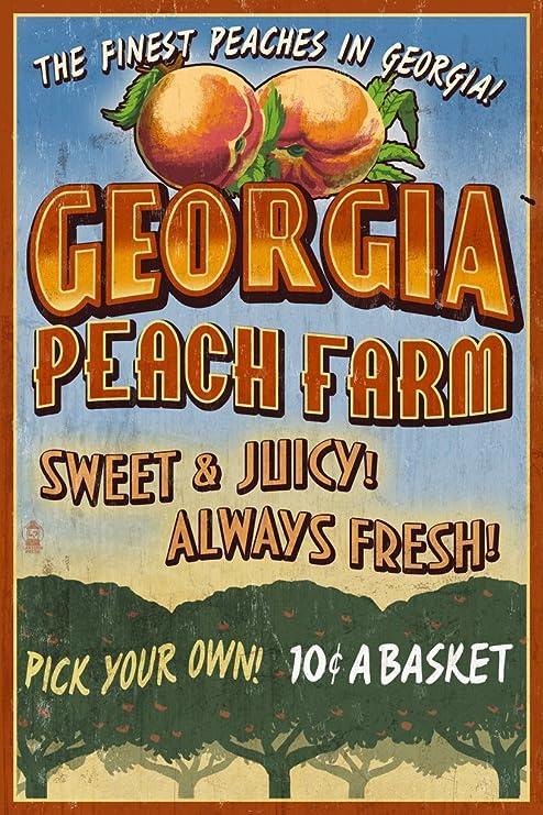 Amazon.com: Georgia, Peach Farm Vintage Sign (12x18 Art Print, Wall Decor  Travel Poster): Wall Art