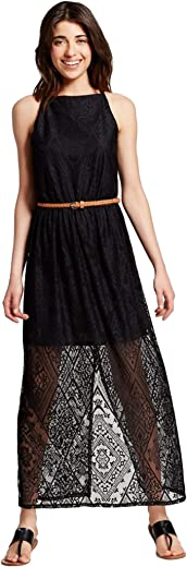 فستان ليلي ستار طويل محبوك بحزام للخصر للنساء