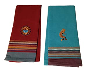 Simply Southwest Kitchen Towel Set, Sun Embroidered Tea Towel & Kokopelli Embroidered Tea Towel