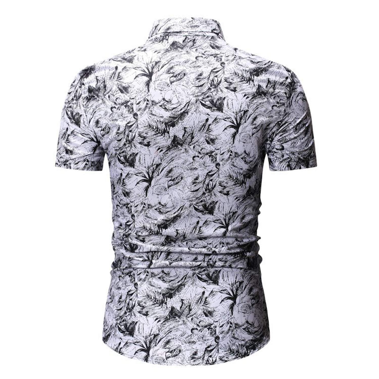 Fashion Floral Hawaiian Shirt Men Summer Short Sleeve Mens Shirts Beach Vacation Party Casual Shirt Male Blue-L