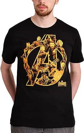 Vengadores para Hombre de la Camiseta de la Guerra del Infinito Héroes Marvel Negro de algodón