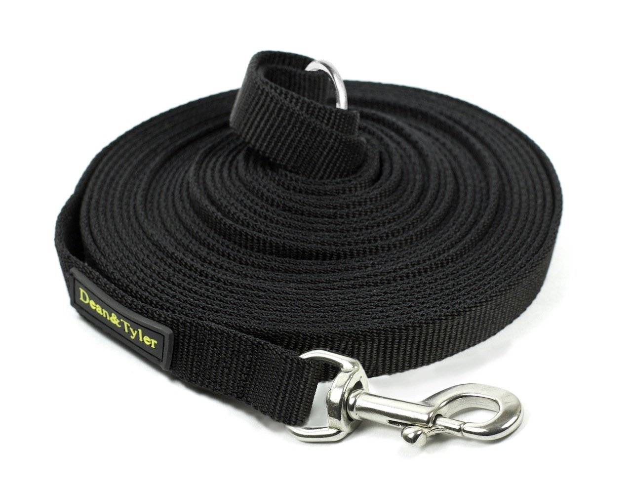 Dean & Tyler Track Single Ply Black Nylon 40-Feet by 3/4-Inch Dog Leash with a Ring on Handle and Stainless Steel Snap Hook