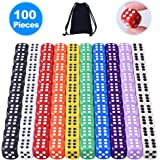 Austor 100 piezas 6 - sided dice set, 10 x 10 colores diferentes 16mm acrílico dados con Free Velvet bolsas para Tenzi, Farkle, Yahtzee, Bunco o la enseñanza de las matemáticas