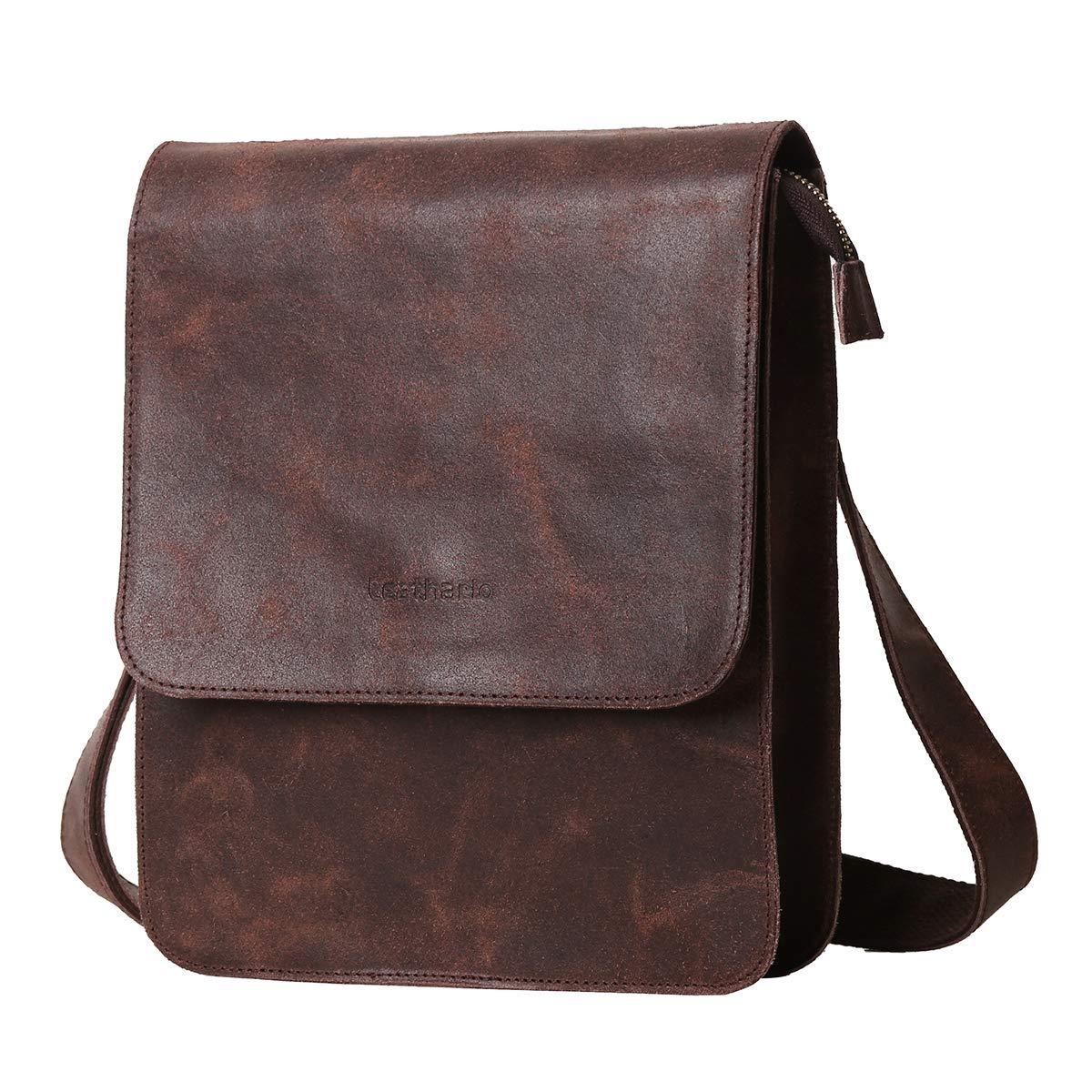 8ef1d651a4a Leathario Men s Leather Shoulder Bag Messenger Bag Crossbody Bag 11 inch  Ipad Bag Satchel Bag Brown (brown-604)