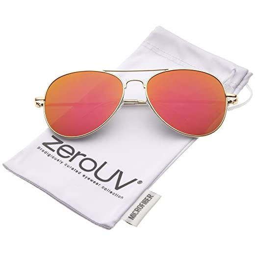 ce83f17c7638 Small Full Metal Color Mirror Teardrop Flat Lens Aviator Sunglasses 56mm  (Gold Orange Mirror