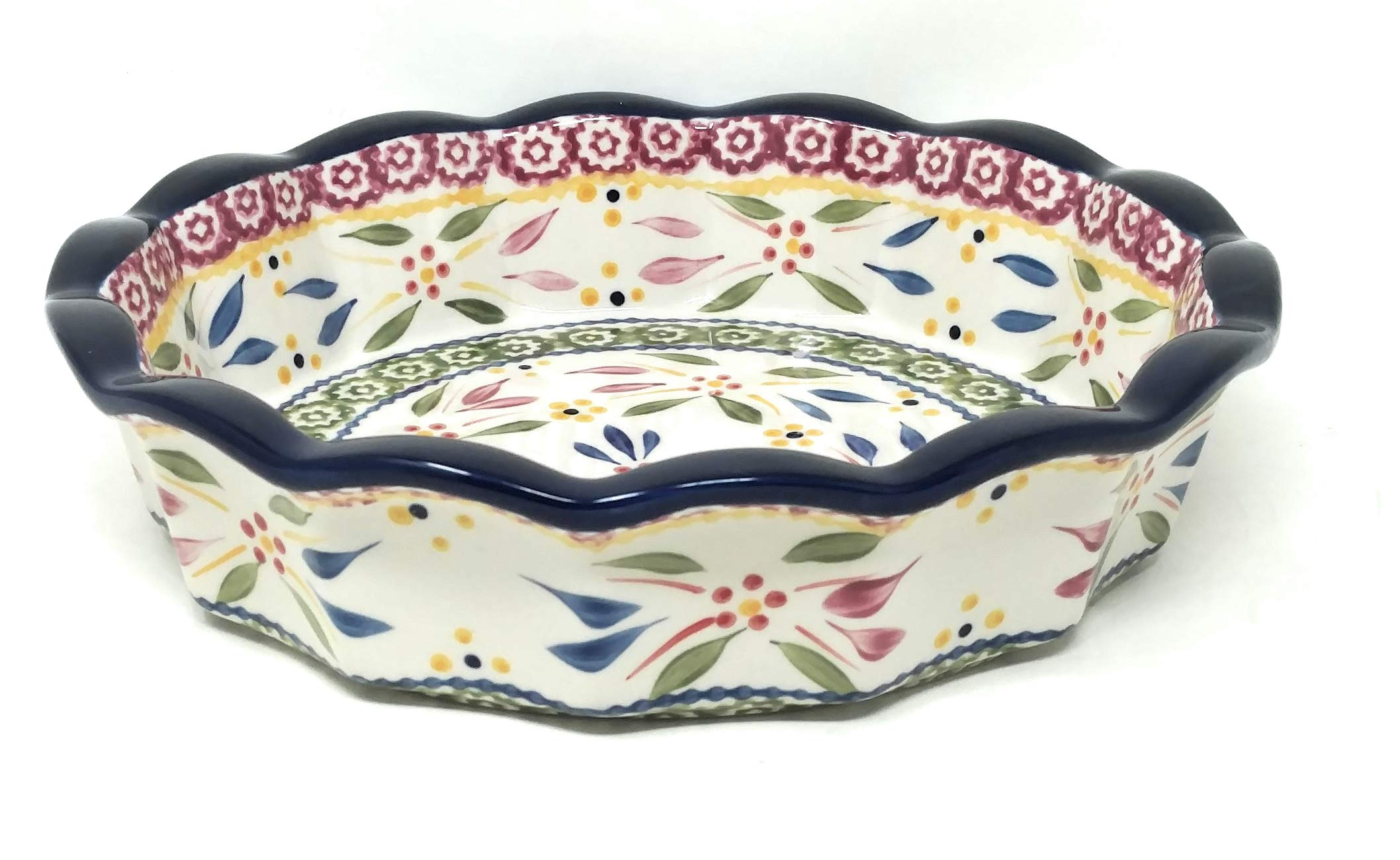 Temp-tations 10'' x 2.25'' Pie Pan w/Cover, Scalloped, Deep Dish Pizza or Quiche (Old World Confetti)