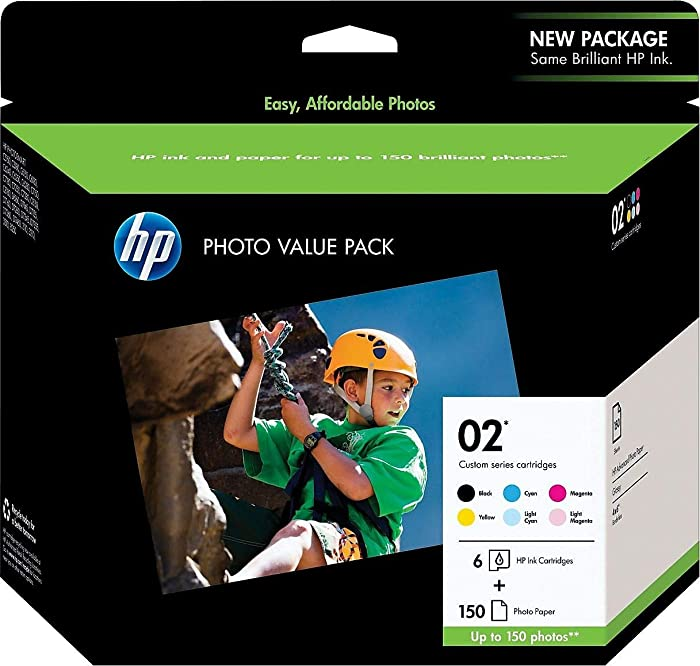 HP 02 | 6 Ink Cartridges with Photo Paper | Black, Cyan, Magenta, Yellow, Light Cyan, Light Magenta | Q7964AN
