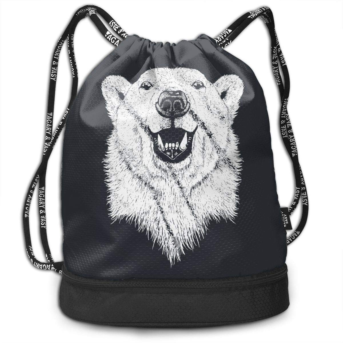 Address Verb Drawstring Backpack with Pocket Multifunctional Sturdy Bear by Address Verb