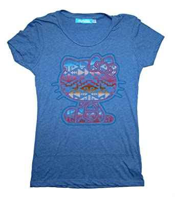 2363bed29 Hello Kitty Sanrio Tribal Fill Soft Juniors Babydoll T-Shirt: Amazon.co.uk:  Clothing