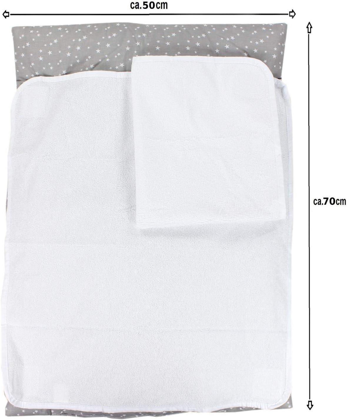 70 x 50 cm Beb/é TupTam Colch/ón para Cambiador con 2 Fundas Der Rizo Estrellas Blanco
