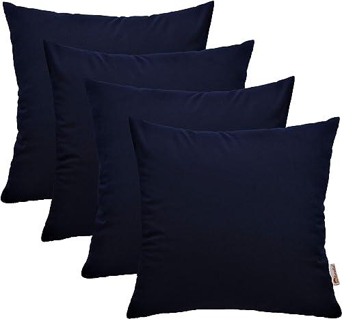 RSH D cor Set of 4 Indoor Outdoor Square Throw Pillows Sunbrella Canvas Navy 20 x 20