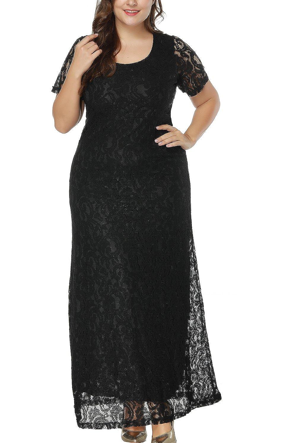 c1e18deb1dc Eternatastic Women s Floral Lace Long Dress Plus Size Party Dress Black at  Amazon Women s Clothing store