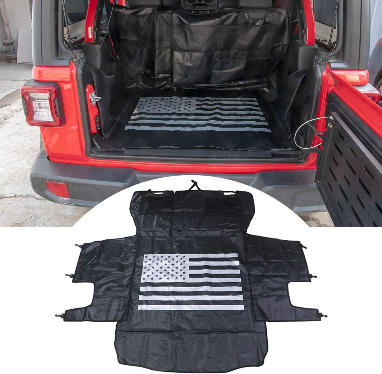buyinhouse Pet Dog Cat Seat Cargo Liner Cover for Jeep Wrangler JK JL 2007-2020 4Door Large Size Hammock with Waterproof Stain-Resistant Non Slip Backing Heavy Duty Oxford
