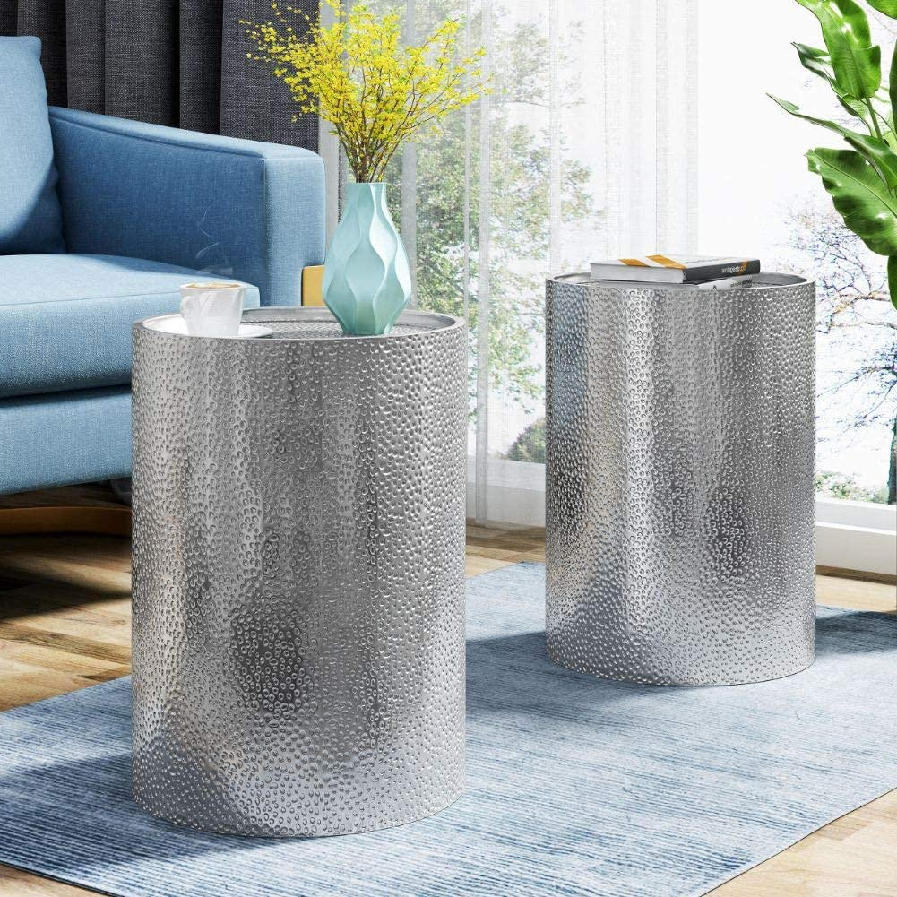 Christopher Knight Home Kaylee Modern Round Hammered Iron Accent Table (2 Pack) -Silver