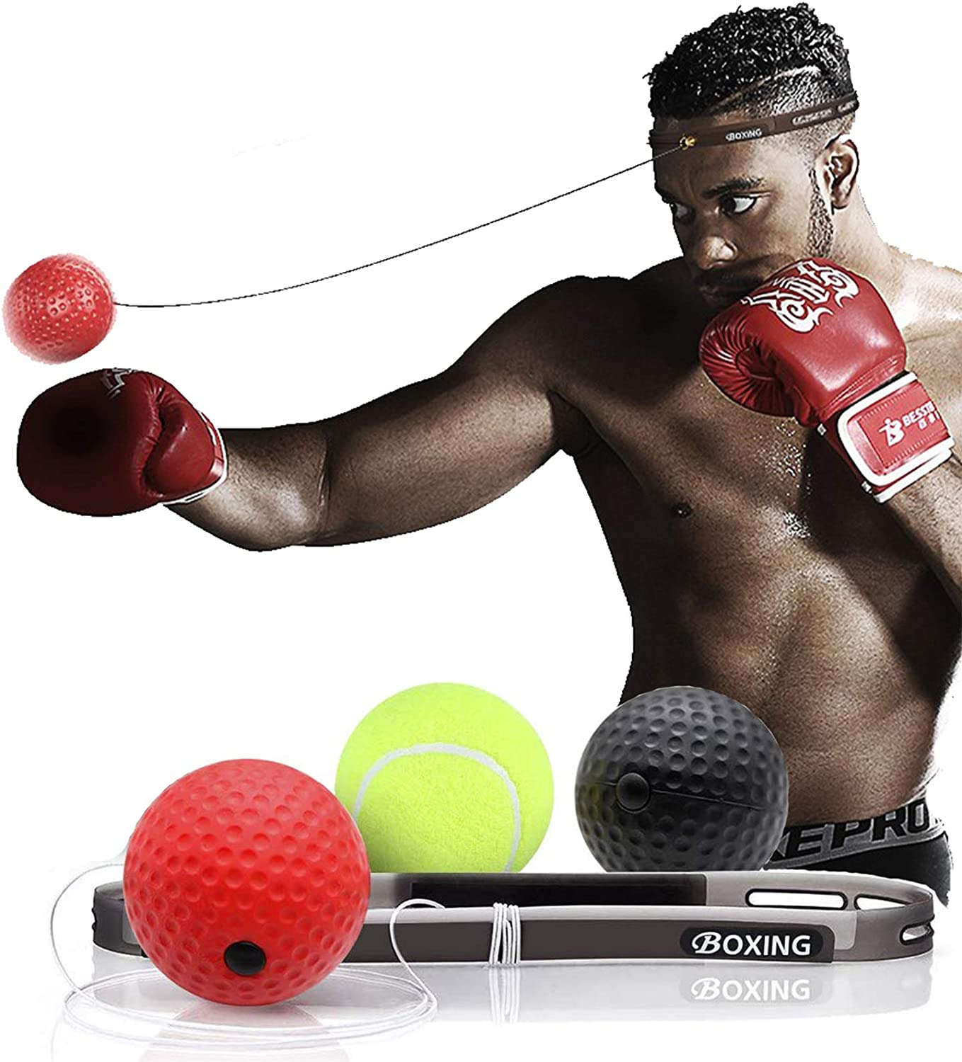 N\A Boxing Reflex Ball Portable Boxing Ball with Elastic Rope Head Band for Sport Exercise Practice
