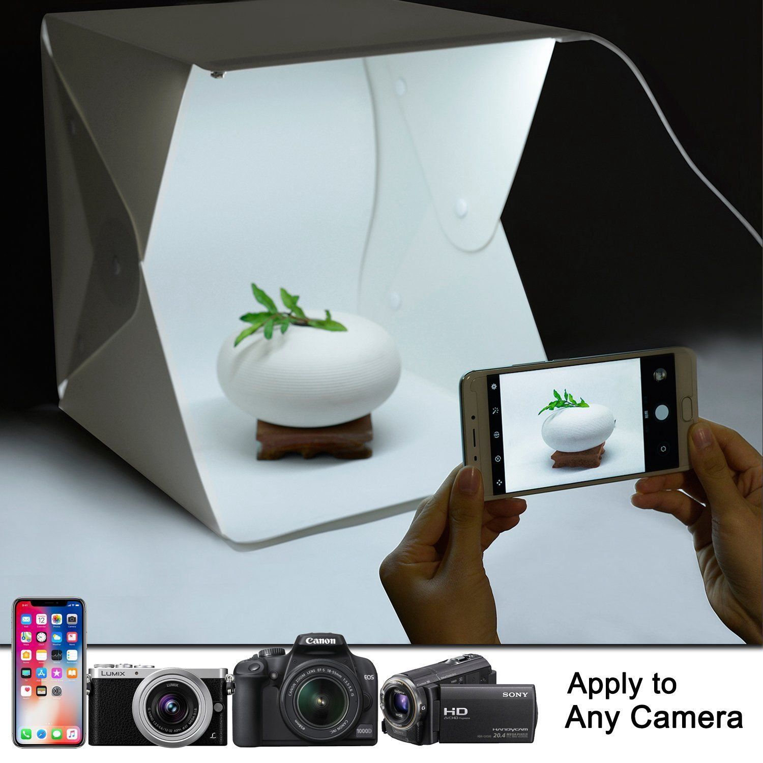 Nrpfell Upgraded Version Portable Photography Studio,Mini Portable and Folding Photo Light Box Studio Photo Photography Tent Kit with LED Light and Background 9.5 x 9 x 9.8 inches