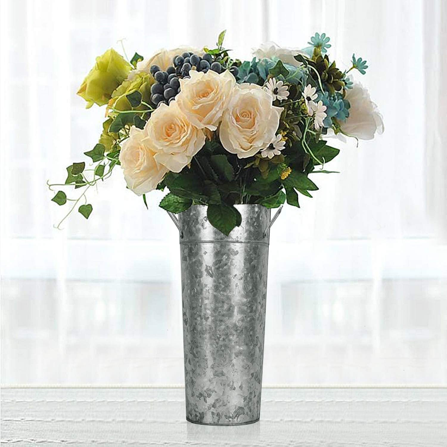 Yoleshy 15 High Galvanized Vase With Handles Tall Farmhouse Bucket For Fresh Dried Floral Arrangements Rustic Decorated For Wedding And Home Flowers Not Included Amazon Co Uk Health Personal Care