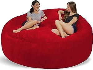 Chill Sack Bean Bag Chair: Giant 8' Memory Foam Furniture Bean Bag - Big Sofa with Soft Micro Fiber Cover - Red Furry