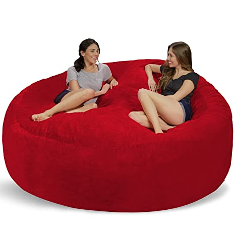 Chill Sack Bean Bag Chair: Giant 8 Memory Foam Furniture Bean Bag - Big Sofa with Soft Micro Fiber Cover - Red Furry