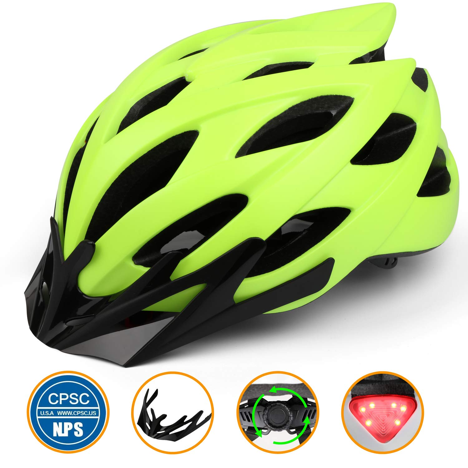 Shinmax Bike Helmet, Cycling Helmet with CPSC Safety Certified LED Safety Light Removable Visor Portable Backpack Flow Vents-Safety and Comfortable for Adult Men Women Youth Mountain Road