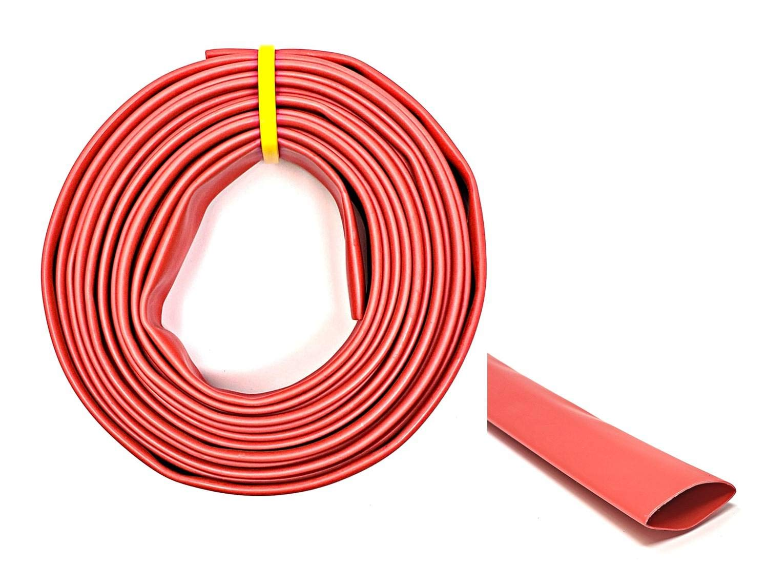 "WindyNation 1"" 50 Feet Red 3:1 Dual Wall Adhesive Glue Lined Marine Grade Heat Shrink Tube Tubing"