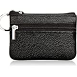 Dairyshop Ladies Leather Wallet Pouch Purse for Small Coin Card Key Ring (Black)