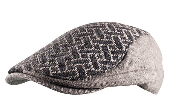 2f4588df8f4 Itzu Wool Mix 2 Tone Panel Flat Cap Hat Criss Cross Stitch Cabbie Driver in  Grey