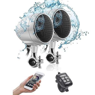 Yan Jianliang Kit Audio Moto,Moto Haut-Parleur stéréo Bluetooth Audio Radio FM SD TF MP3 USB Audio Système Lecteur One Machine 300W 3.5 Pouces Cuisine & Maison