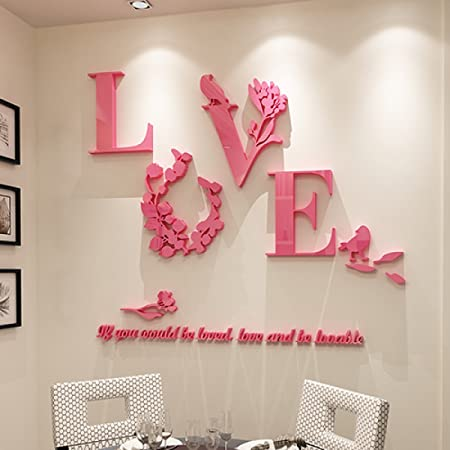 GLF LOVE Married 3D Stereo Wall Stickers Room Layout Living Room ...