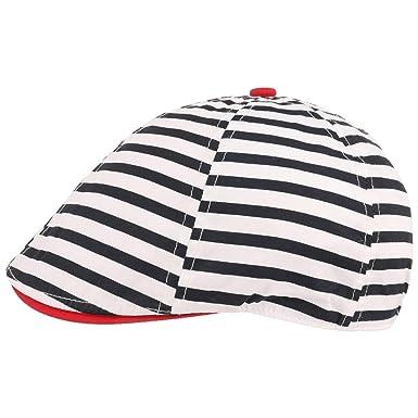 2daef247d774 Lipodo Casquette Plate pour Enfant Stripes Coton (54 cm - Blanc)   Amazon.fr  Vêtements et accessoires