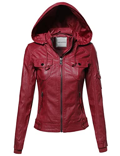 Faux Leather Jacket With Detachable Hood Burgundy S Size