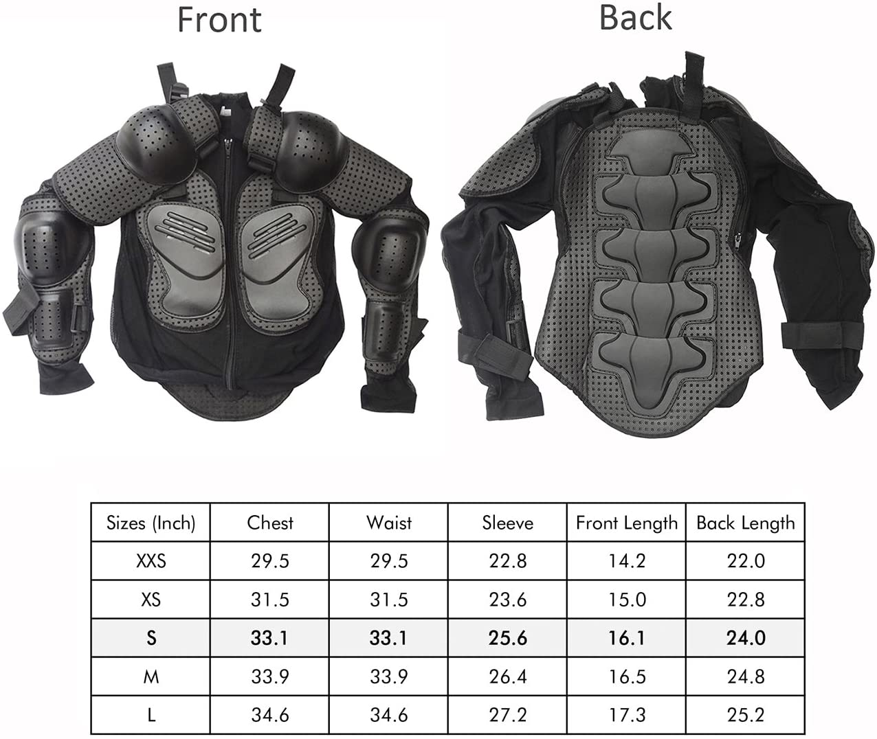 Children Breast Chest Spine Protector Motorcycle Motocross Dirt Bike Racing Skiing Skating Sports ATV Safety Gear Guard Black TDPRO Kids Full Body Armor Protective Jacket XS