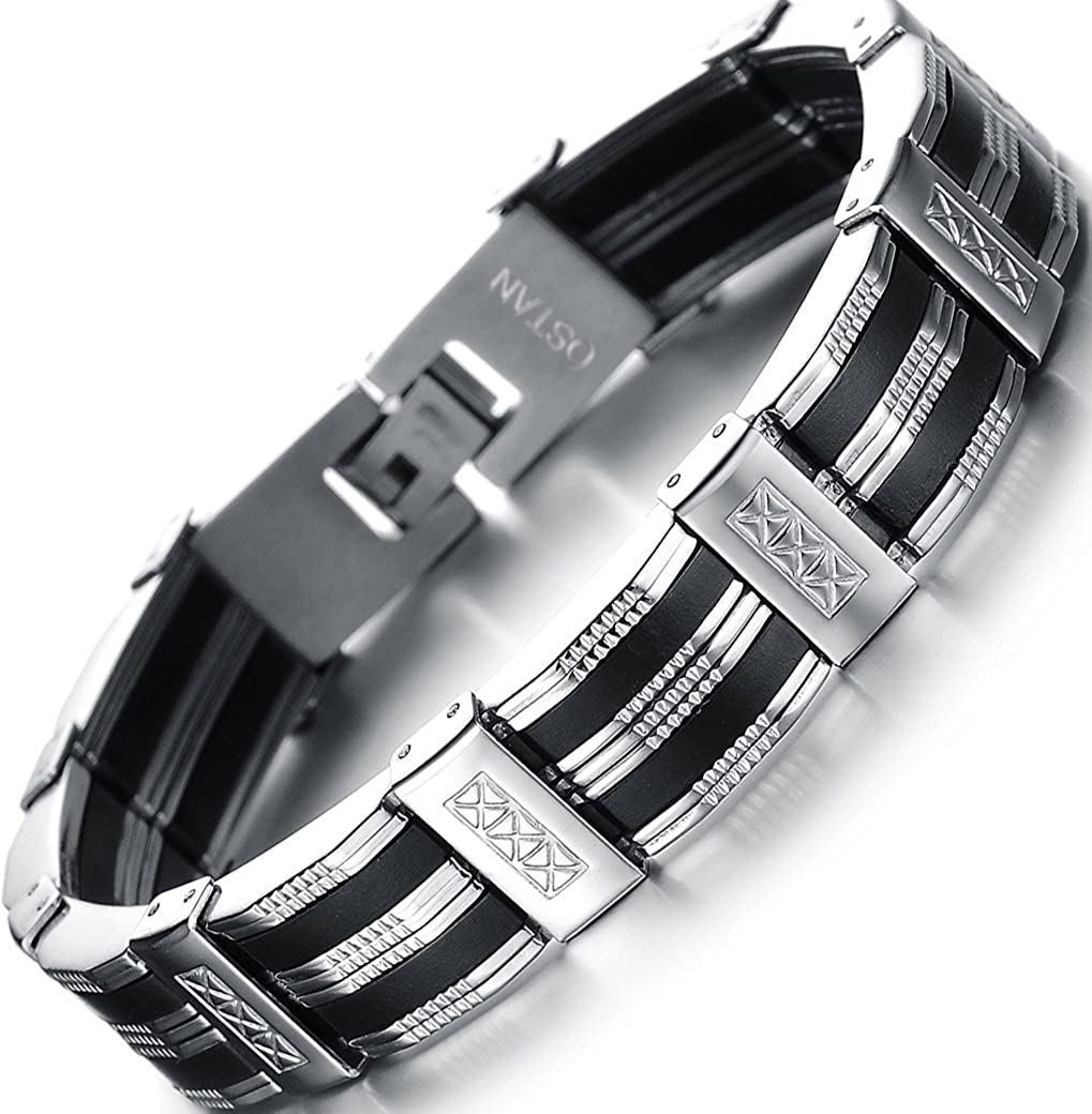 OSTAN Men's Stainless Steel Chain Link Bracelet