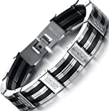 Amazon Price History for:Ostan Mens Bracelet Men's Royal Stainless Steel Link Bracelet Punk Biker Wrist Silver