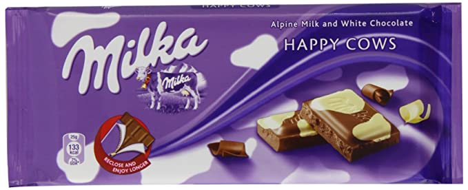 Milka Happy Cows Alpine Milk And White Chocolate Bar 100 G Pack Of 21