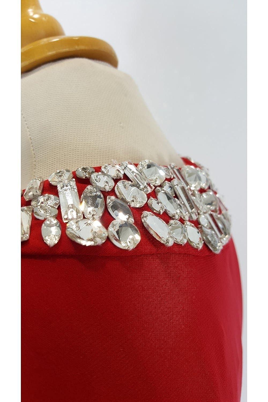 Tiffanys Illusion Prom Atlanta Red Jersey Halterneck Long Dress: Amazon.co.uk: Clothing