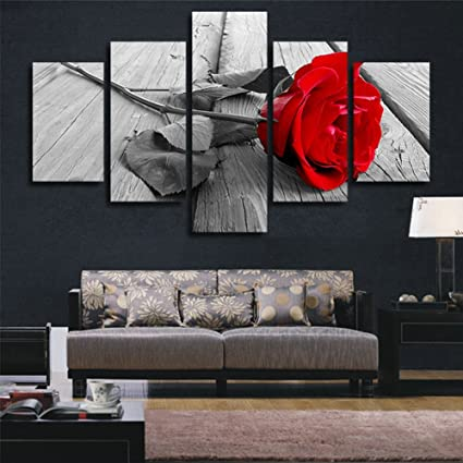 H.COZY Art Abstract Art Rose In Black White Red Decorative Wall Decorative  Canvas Print