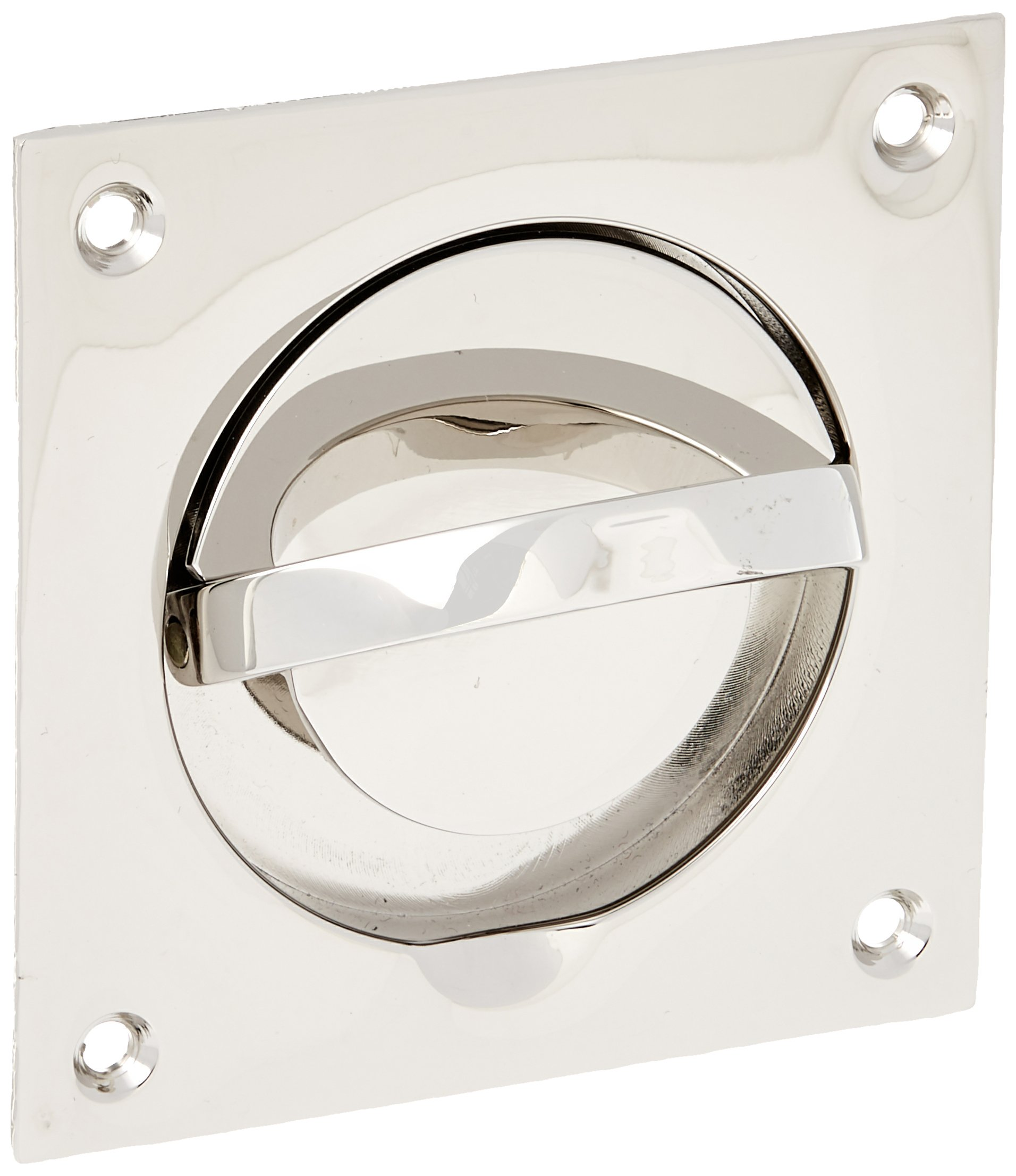 Baldwin 0397140SOL Flush Ring Pull with Solid Spindle, Bright Nickel by Baldwin (Image #2)