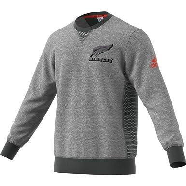 083e1307399 adidas New Zealand All Blacks 2017 18 Off Field Crew Rugby Sweatshirt -  Dark Grey Heather Solid Grey Energy - Size M  Amazon.co.uk  Clothing