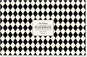 Faux Designs Paper Placemats - Diamonds Black Easy Elegant Casual Entertaining