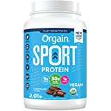 Orgain Chocolate Sport Plant-Based Protein Powder, Made with Organic Turmeric, Ginger, Beets, Chia Seeds, Cherry, Brown Rice