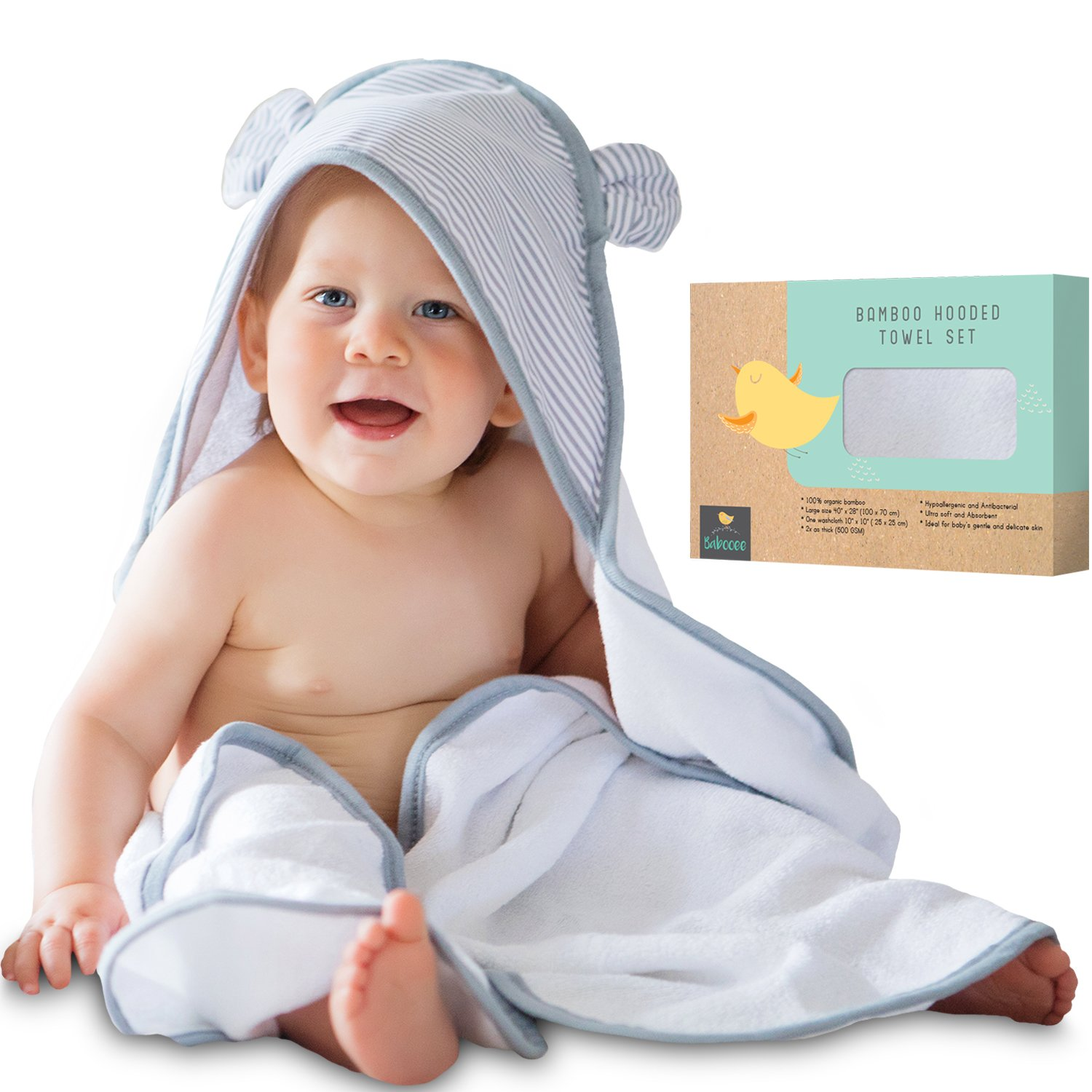Amazon.com : Premium Baby Hooded Towel and Washcloth Set - Extra ...