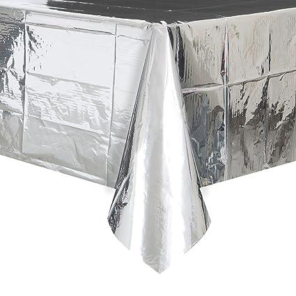 Foil Silver Plastic Tablecloth, 108 X 54u0026quot;