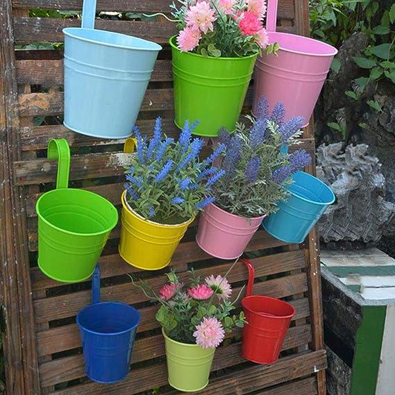 Vosarea Hierro Flor Planta Maceta Colgante Sembradora Sostenedor Cubo de metal Interior exterior para jardín Balcón Pared - Rojo: Amazon.es: Jardín