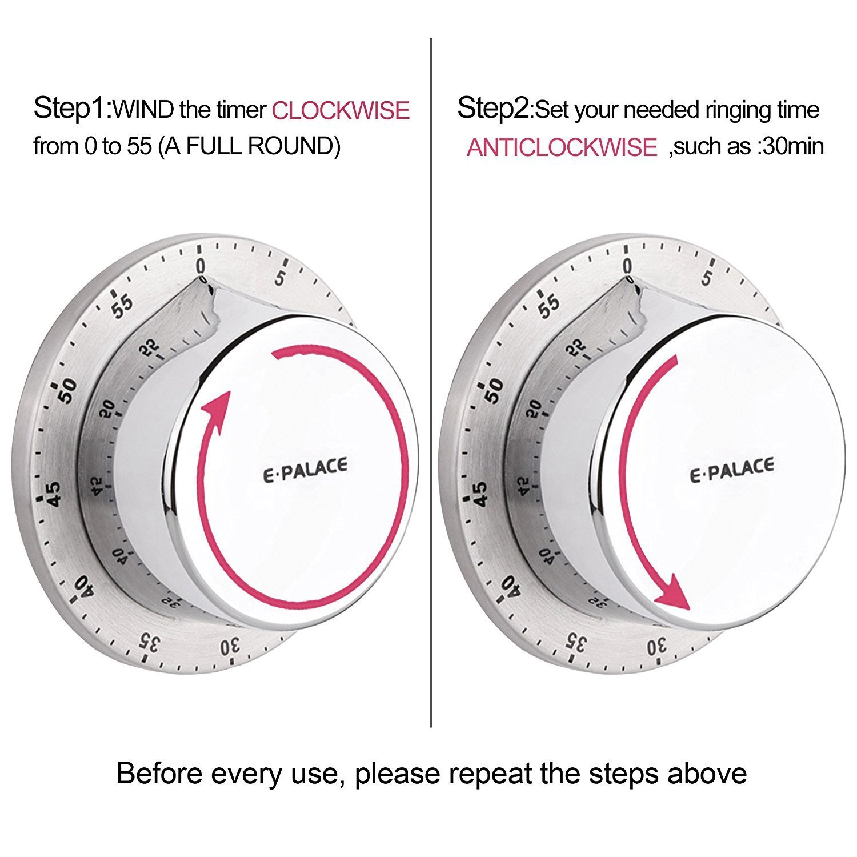 Amazon.com: Mechanical Kitchen Timer Loud Alarm Sound with Magnet ...