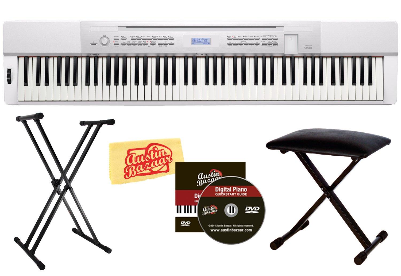 Casio Privia PX-350 88-Key Digital Piano Bundle with Gearlux JX-90 Bench, Gearlux JX-52 Stand, and Austin Bazaar Polishing Cloth - White