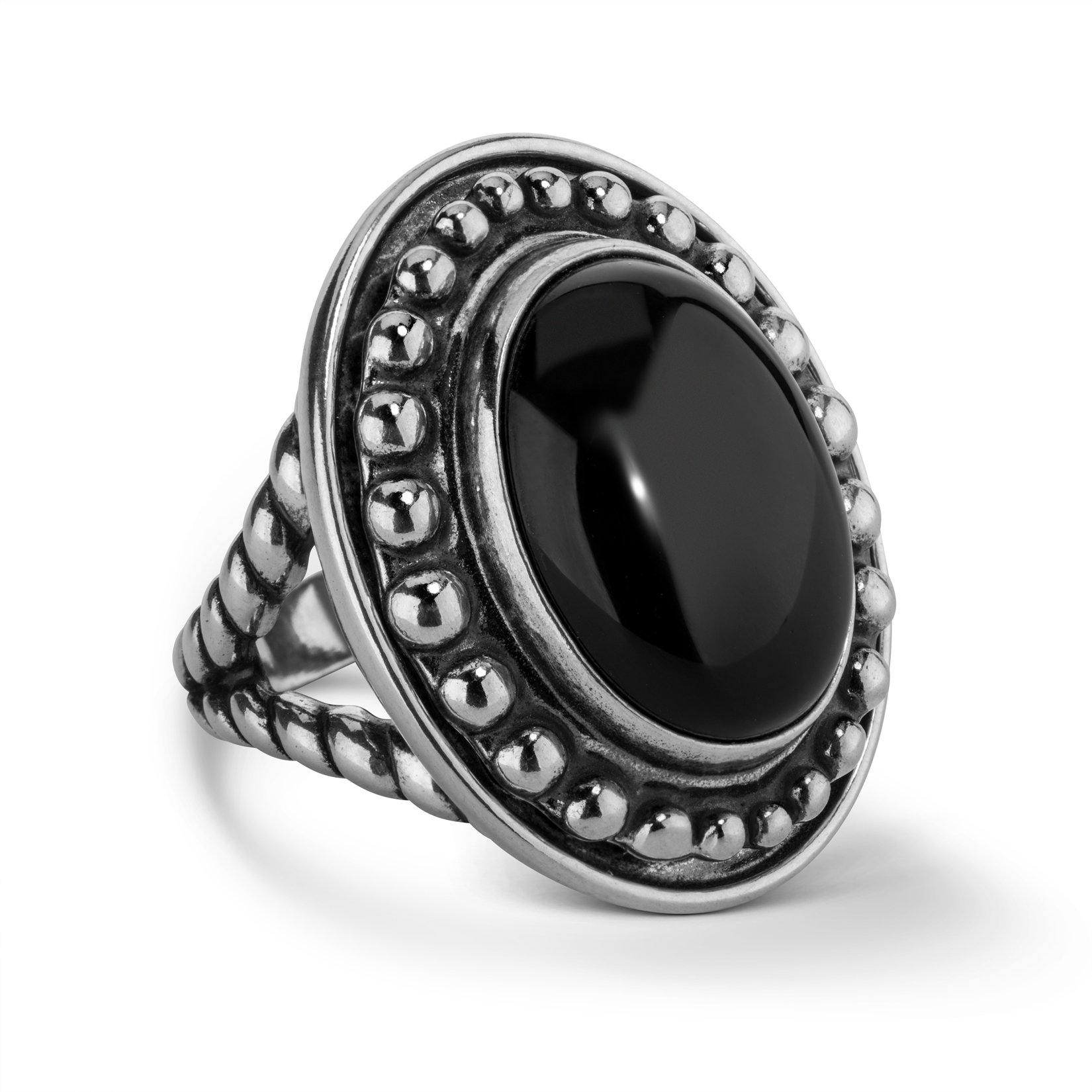 American West Sterling Silver Black Agate Gemstone Interchangeable Bold Ring Size 5 by American West
