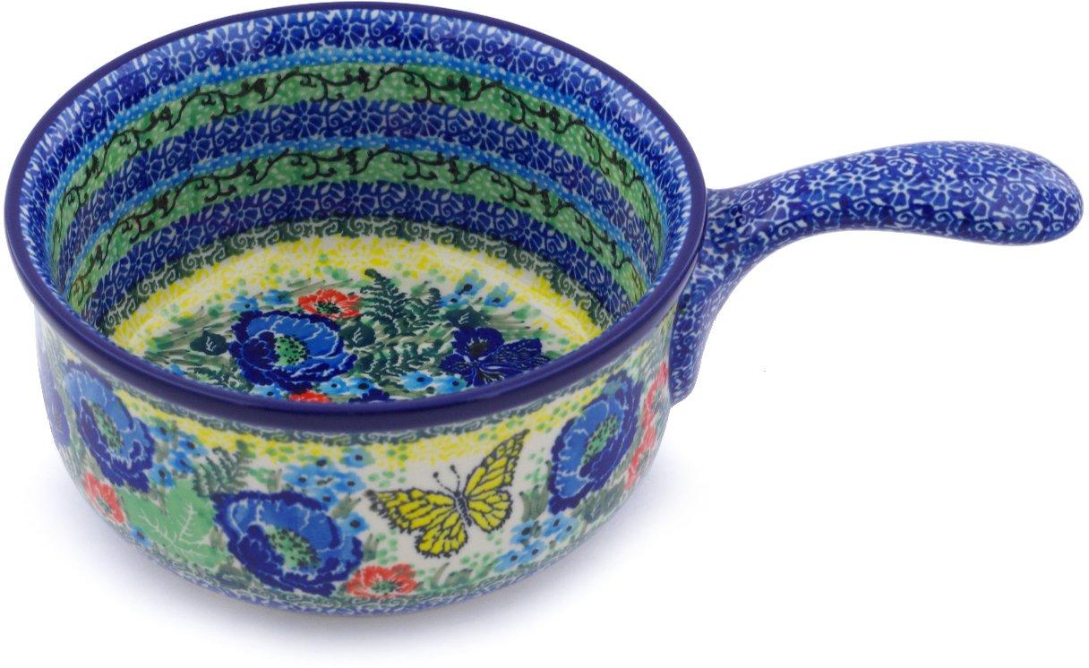ポーランド食器10-inchラウンドハンドル付きBaker Made by Ceramika Artystyczna (イエローMonarch Meadowテーマ) 署名Unikat +証明書of Authenticity   B07DSG3QPV